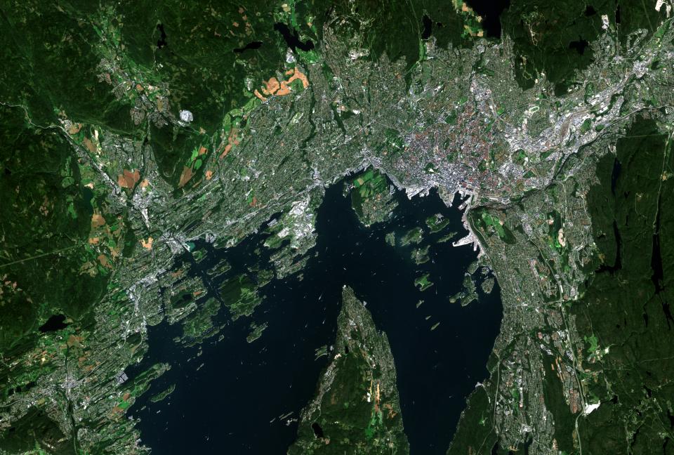 Oslo Fra Sentinel 2A Satellitten. En Av Satellittene I Copernicus Programmet For Jordobervasjon.