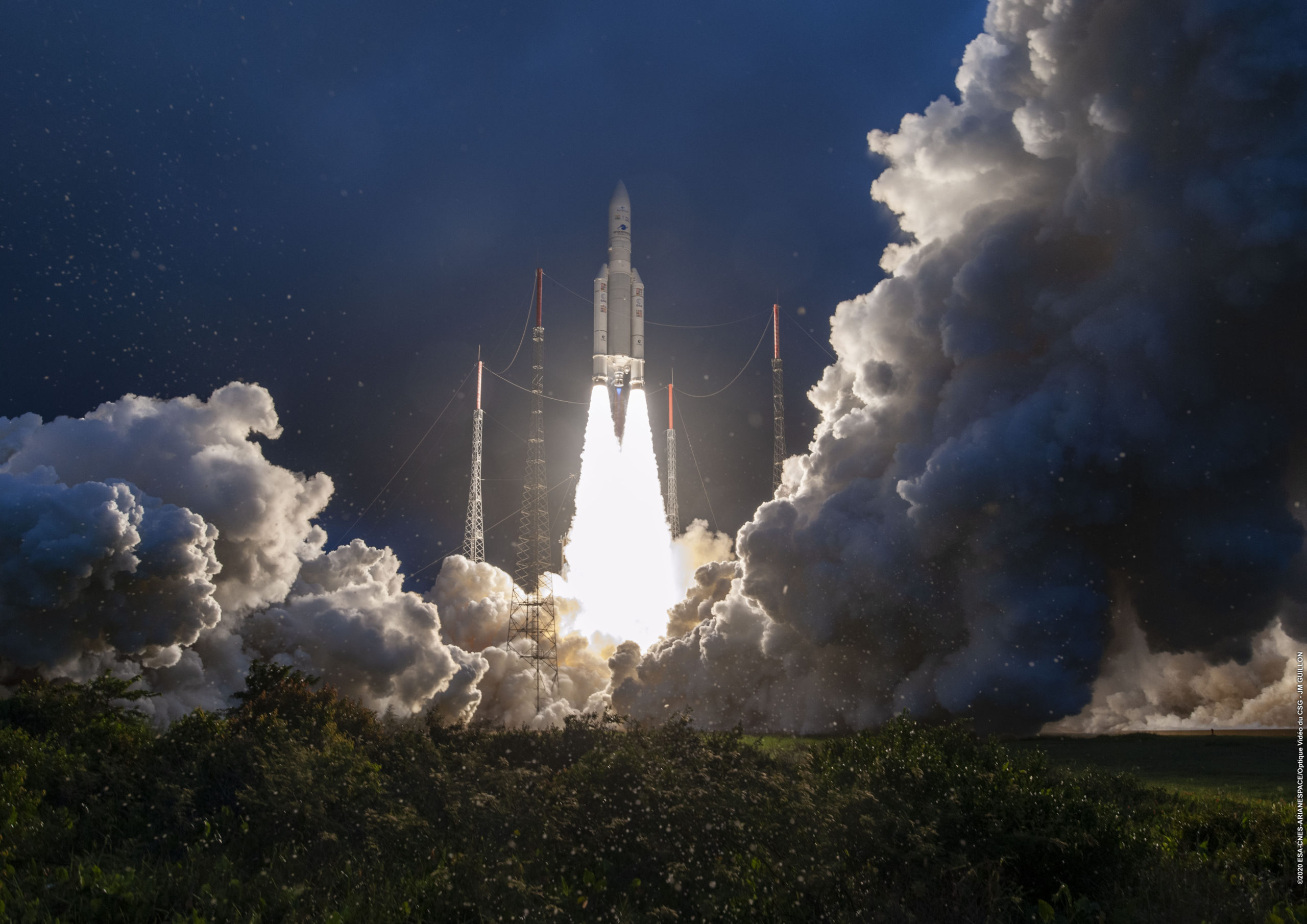 (c) ESA, CNES, Arianespace. Several Norwegian companies contribute to the Ariane launcher program,